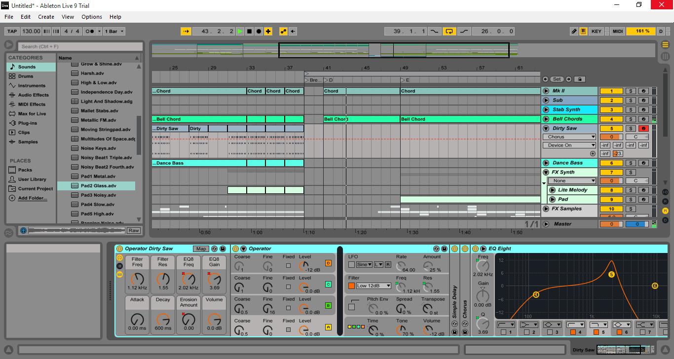 Ableton Live - интерфейс программы Аблетон Лив