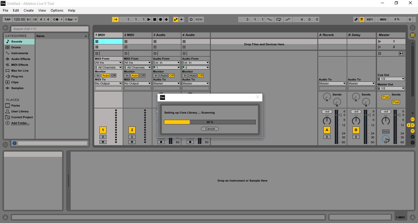 Запуск программы Ableton Live 9