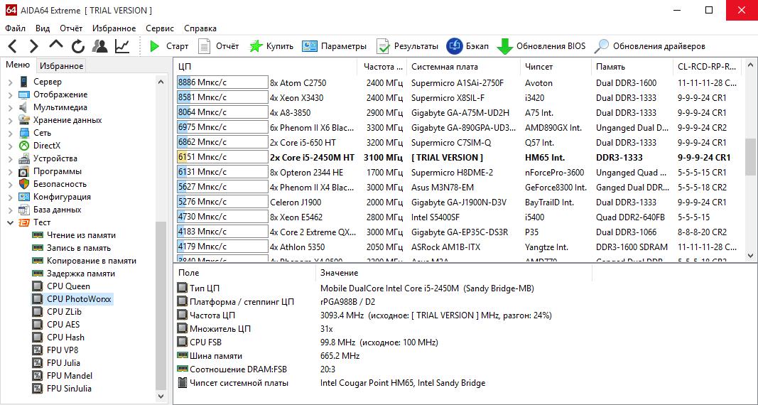 АИДА 64 - сравнение производительности процессоров