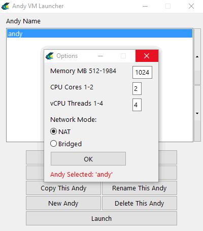 Andy - настройки параметров эмулятора Андроид