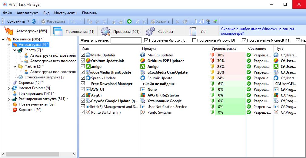 AnVir Task Manager - диспетчер задач Анвир Таск Менеджер