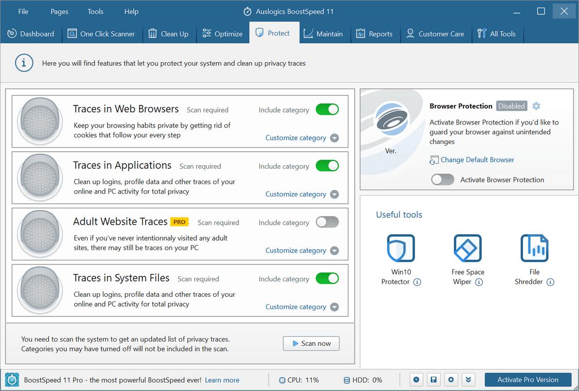 Auslogics Boost Speed - ограничения не зарегистрированной версии