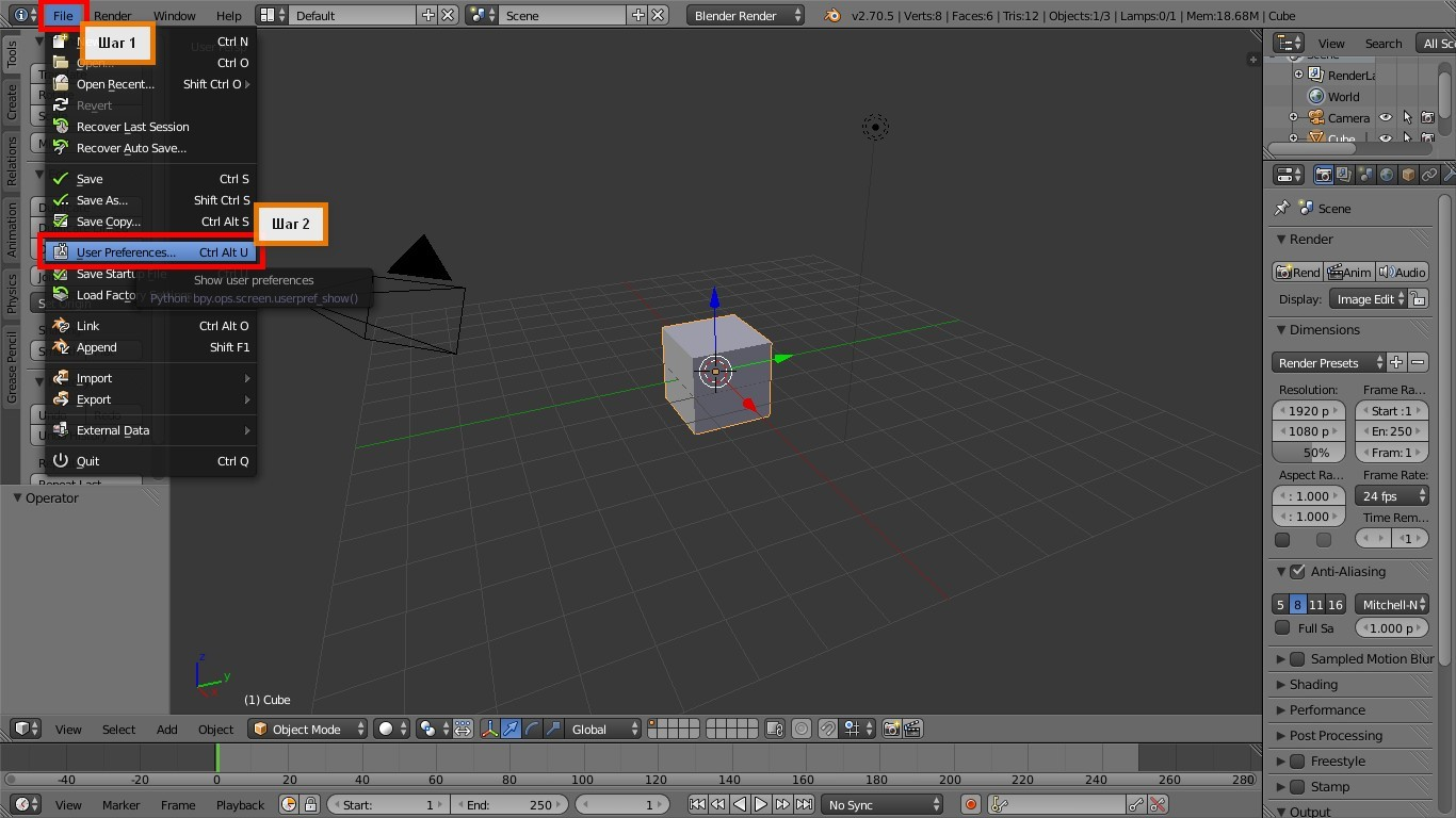 Blender 3D - меню File