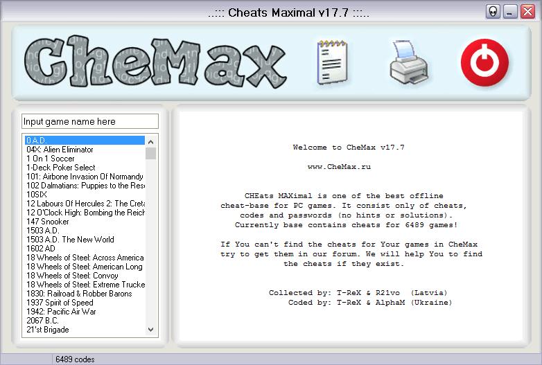 База с кодами для игр ЧеМакс на английском языке