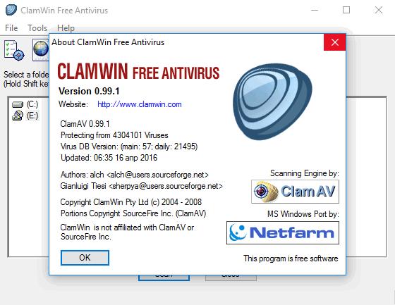 ClamWin Free Antivirus - антивирус с открытым исходным кодом Клам Антивирус