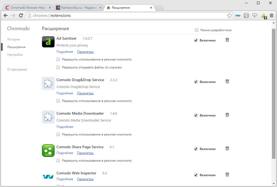 Интегрированные расширения в браузере Chromodo