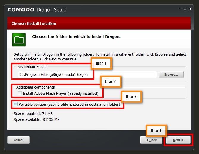 Выбор типа установки Комодо Драгон