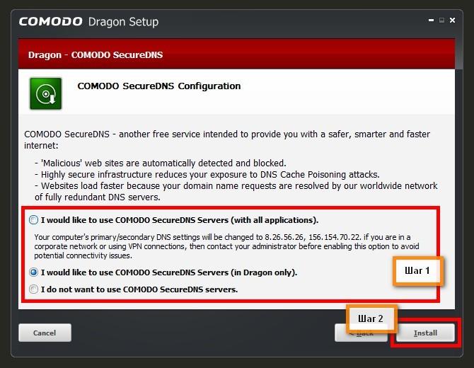 Конфигурация SecureDNS Comodo Dragon