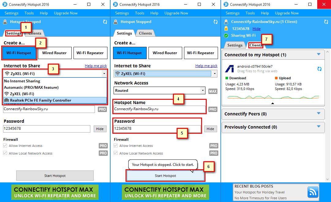 Connectify - раздача WiFi с ноутбука или ПК