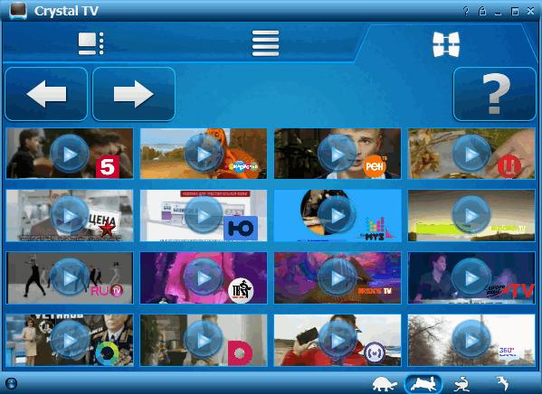 CrystalTV - предпросмотр каналов