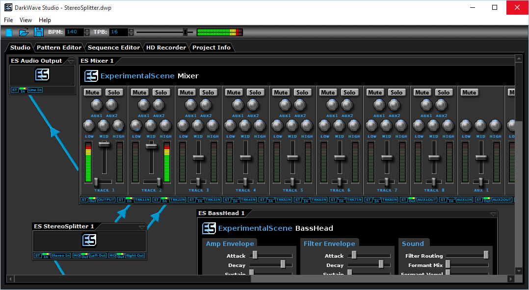 Интерфейс DarkWave Studio