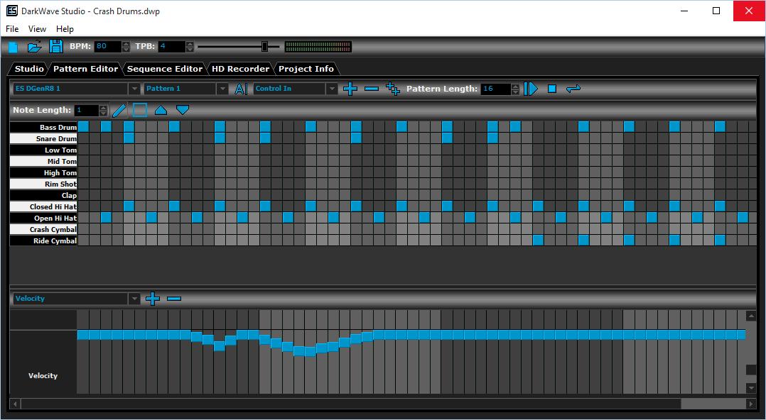 Pattern Editor в Dark Wave Studio