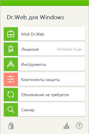 Dr.WEB Antivirus - меню в области уведомлений