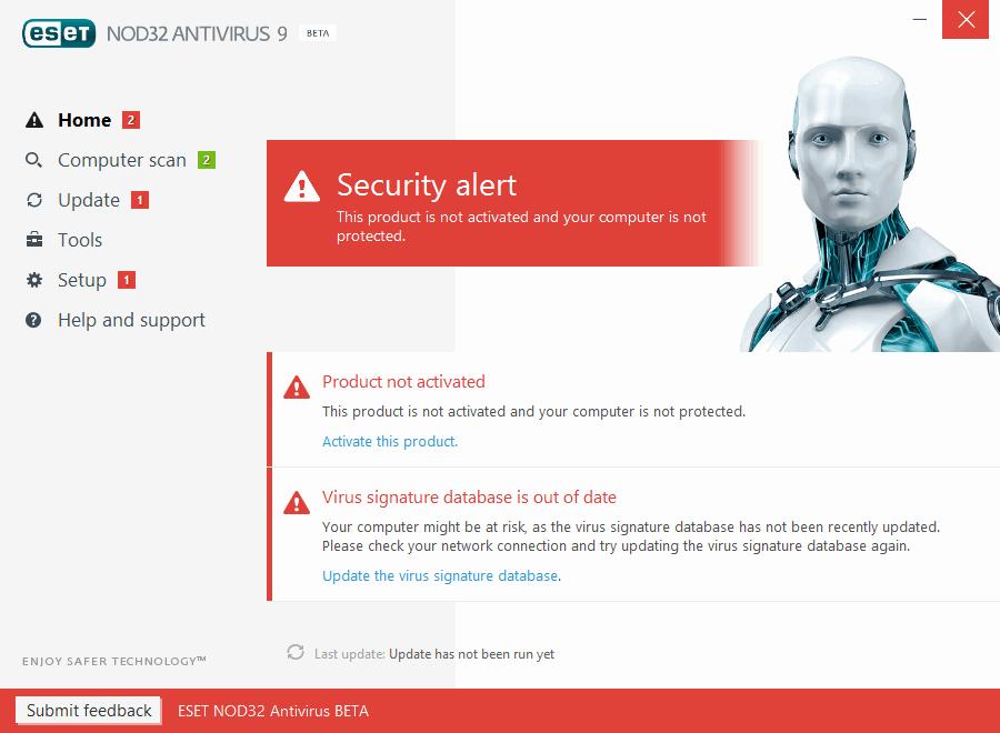 Интерфейс ESET NOD32 Antivirus 9