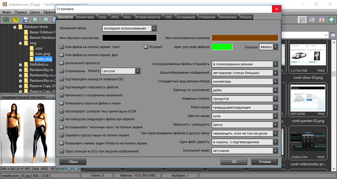 FastStone Image Viewer - настройки программы