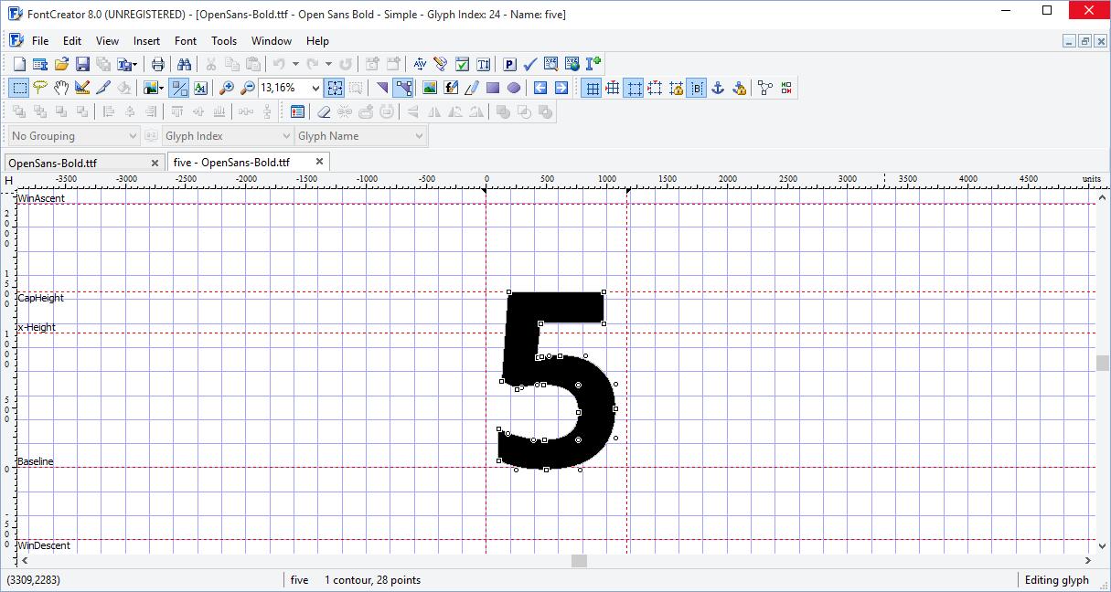 Font Creator - редактирование шрифта