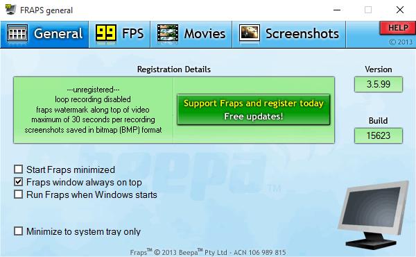 Fraps - Фрапс  -  программа для записи видео с экрана