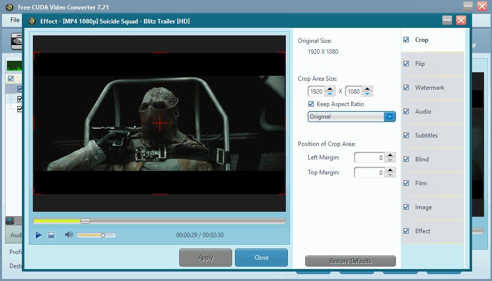 Free CUDA Video Converter - наложение эффектов
