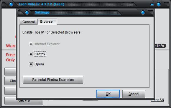 Free Hide IP - настройки программы
