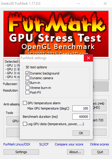 ФурМарк - настройки программы