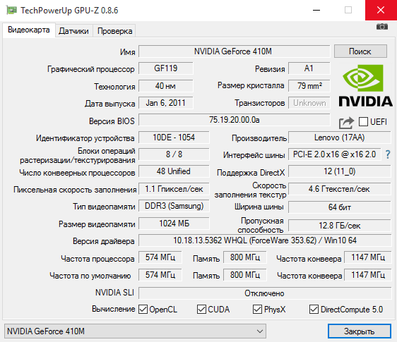 GPU-Z - интерфейс диагностической утилиты ГПУ Зет
