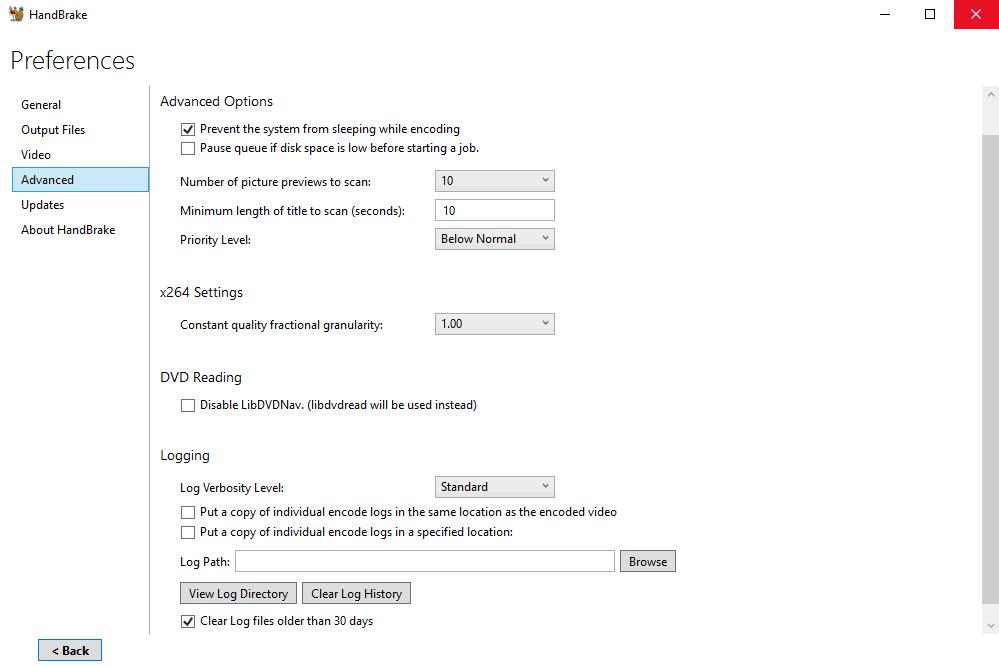 ХендБрейк - настройки программы