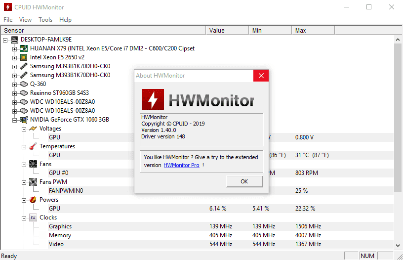 HWMonitor - программа для просмотра температуры компьютера HardWare Monitor