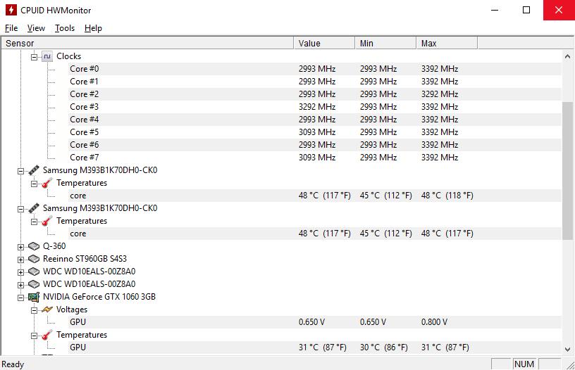 CPUID HWMonitor - показывает температуру процессора и температуру видеокарты