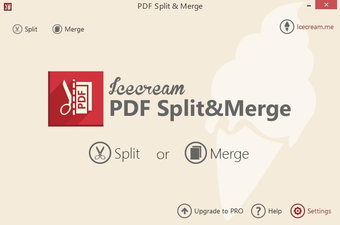 "Пункт ""Settings"" PDF Split and Merge"