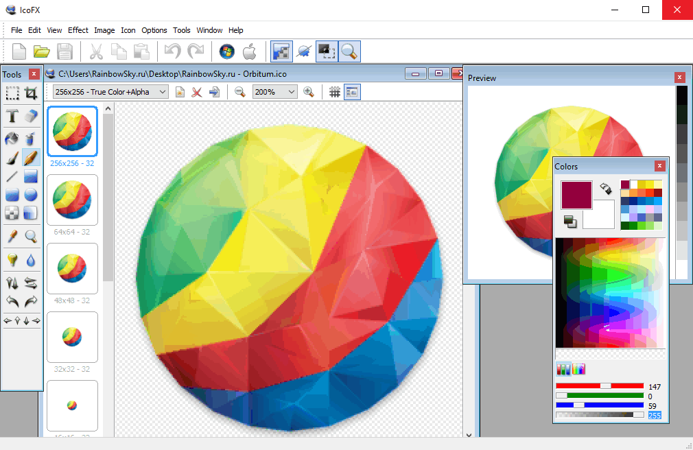 IcoFX - редактор иконок ICO и ICNS