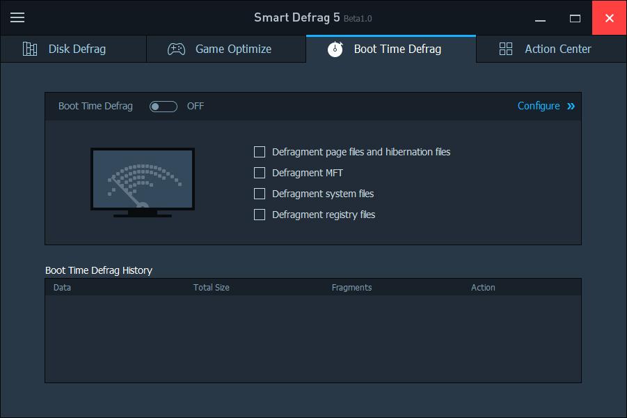 IObit Smart Defrag - настройки дефрагментации