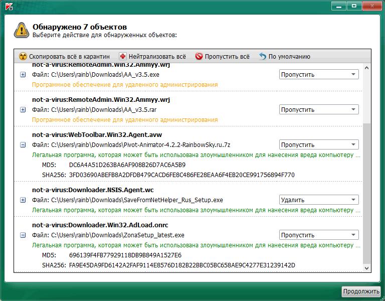 Kaspersky Virus Removal Tool обнаруженные подозрительные объекты AVPTool
