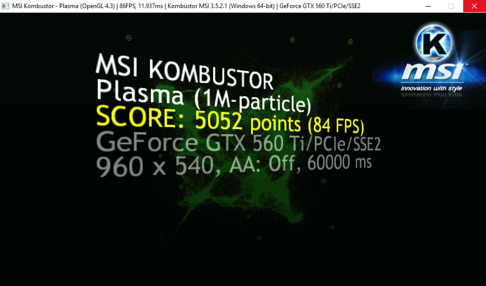 МСИ Комбустор - результаты тестирования видеокарты