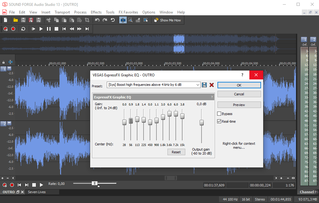 Саунд Фордж Про - редактирование аудио файла