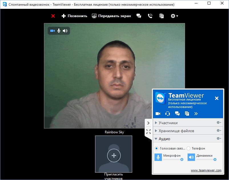 ТимВьювер - видеозвонок в программе