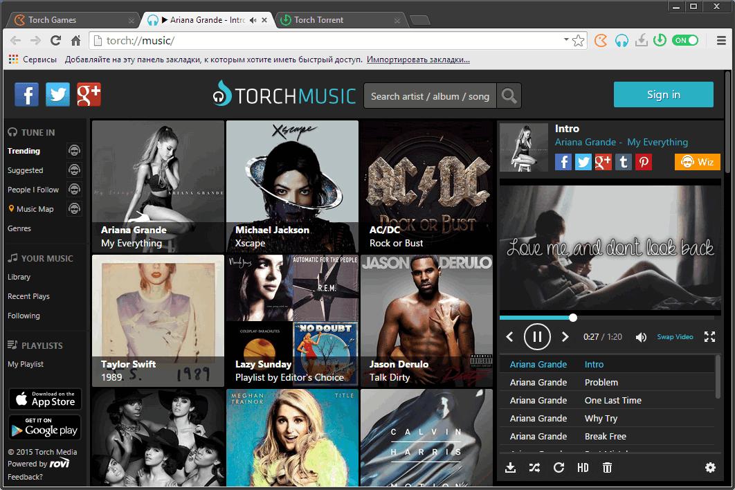 Поиск музыки и клипов в Torch браузере