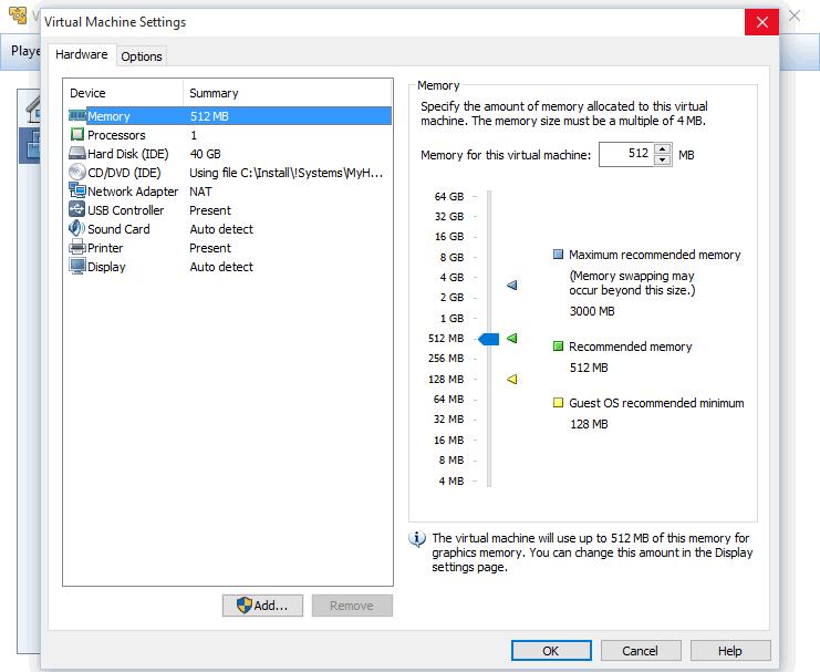 VMware Player - настройки виртуальной машины