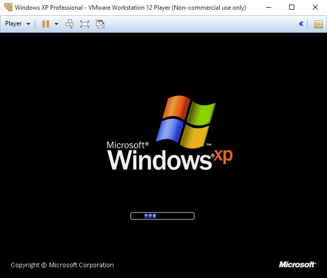 VMware Player - запущен виртуальный Windows XP