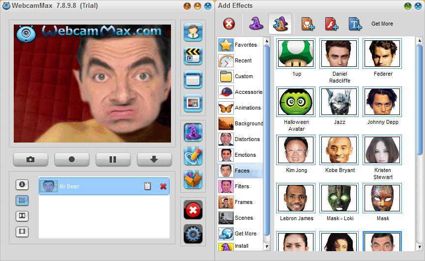 Наложение эффекта в WebcamMax