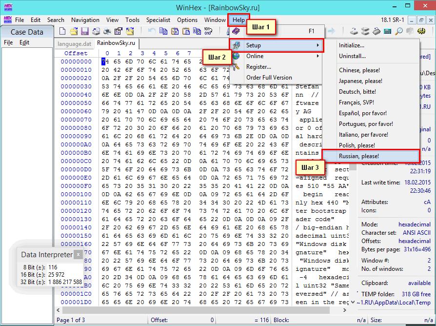 Переключение интерфейса редактора ВинХекс на русский язык